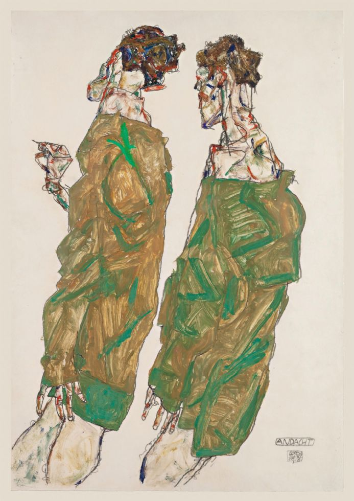 Schiele, Egon: Devotion. Fine Art Print/Poster. Sizes: A4/A3/A2/A1 (003677)
